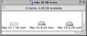 Mac OS 7, 8 & 9 default hard drive icons (1995)