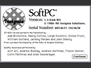 SoftPC 1.4 EGA/AT (1990)