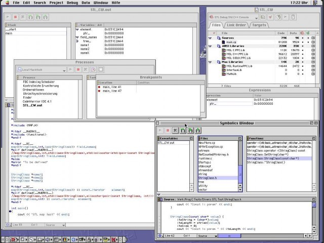 Debugger with information windows: Processes, Breakpoints, Symbolics (file), Expressions, Array.