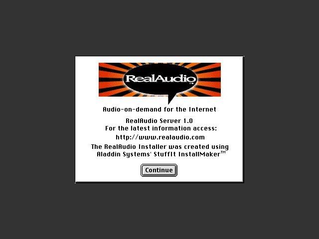 RealAudio Server installer splash screen