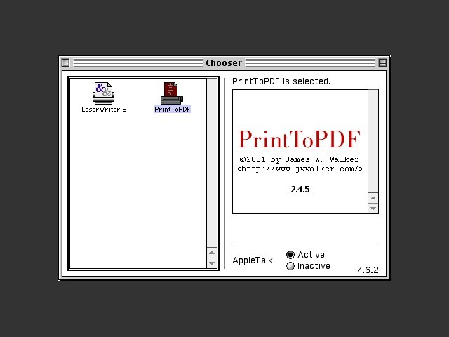 PrintToPDF as it appears on the Chooser