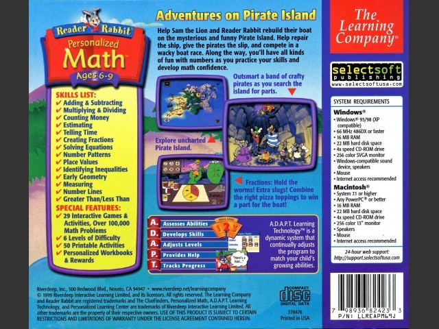Reader Rabbit Personalized Math Ages 6-9 (1999)