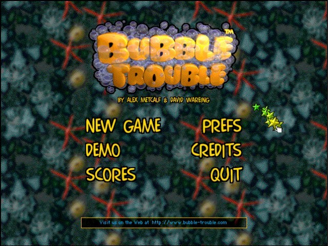 Bubble Trouble welcome screen