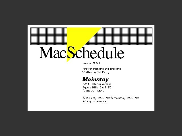 MacSchedule 3.0.1 (1993)
