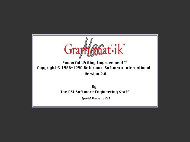 Grammatik Mac (Gram•mat•ik Mac) 2.0 (1990)