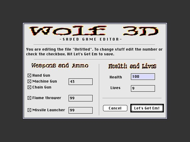 Wolfenstein 3D Saved Game Editor (1995)