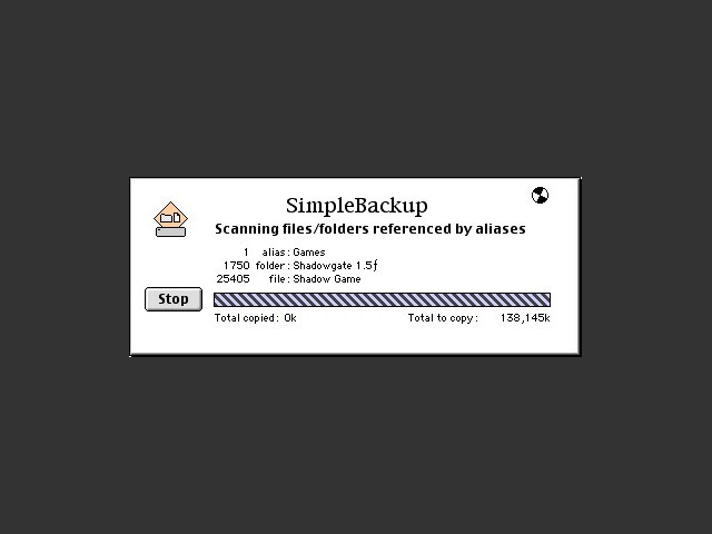 SimpleBackup in action!