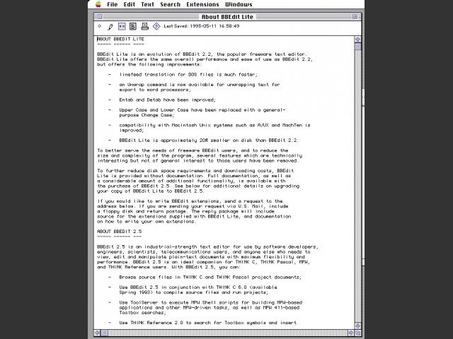 BBEdit Lite 2.x (1994)