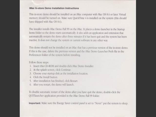 iMac In-Store Demo Fall 1999 (1999)