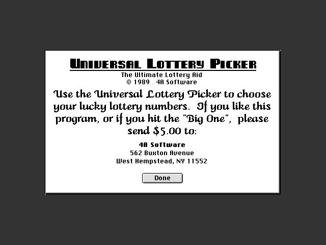 Universal Lottery Picker (1989)