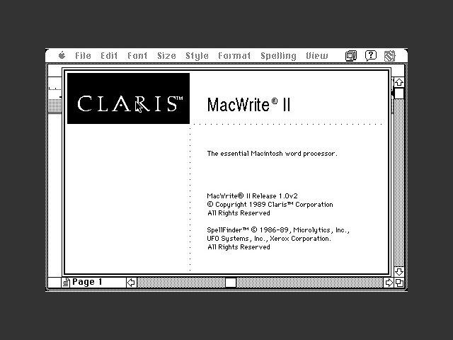 Claris MacWrite II 1.0v2 - 1.1v2 (1989)