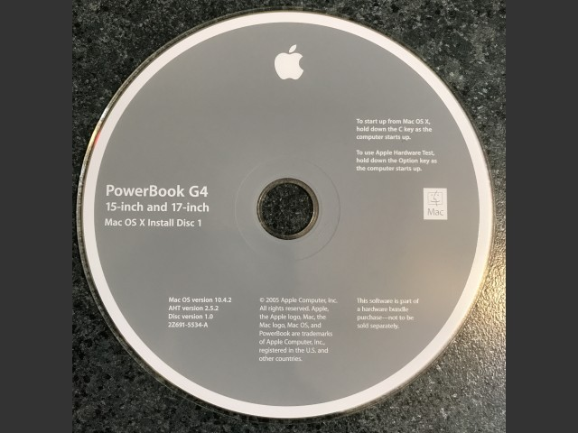 Mac OS 9.2.2 & X 10.4.2 (PowerBook G4 1.67/15-Inch and 17-inch) (2005)