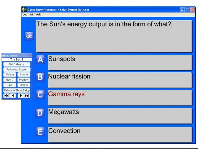 Built in editor for adding your own Q&As to the quiz show.