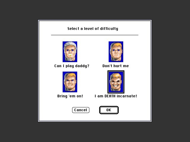 Wolfenstein 3D: First/Second Encounter difficulty screen with Wolf3D Graphics Patch applied.
