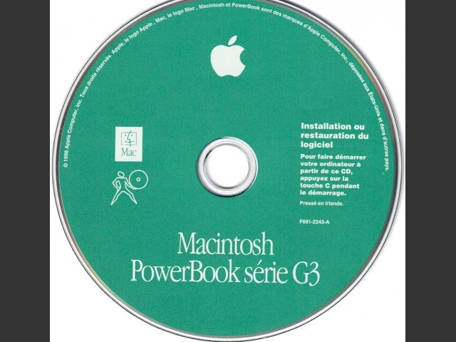 691-2243-A,F,Macintosh PowerBook G3 Series. Software Install or Restore. SSW v8.5 (CD)... (1998)