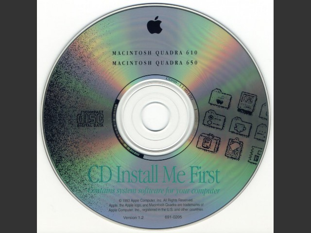 CD Install Me First. SSW v7.1. Disc 1.2 (CD) {Macintosh Quadra 610 & 650} (1992)