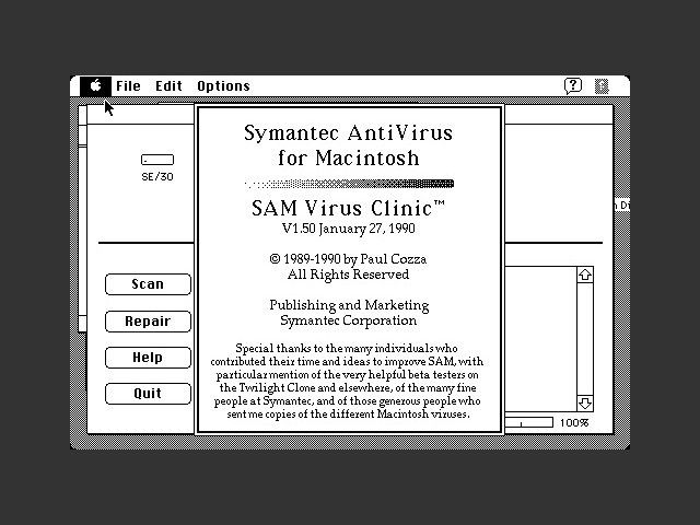 Symantec AntiVirus for Macintosh 1.5 (1990)