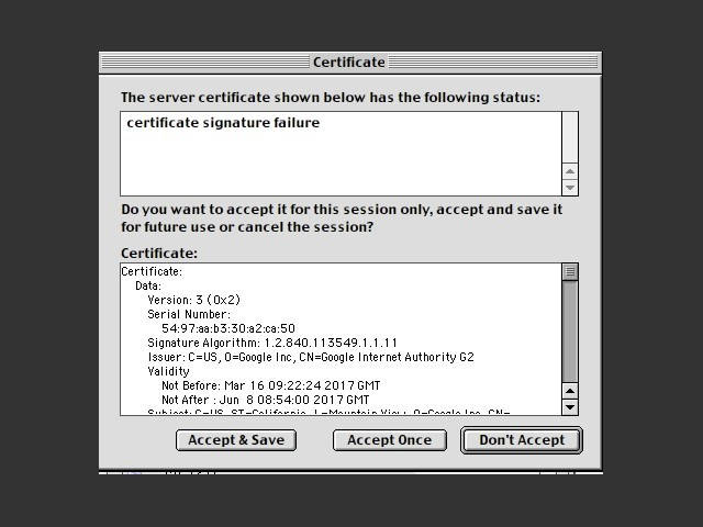 Accepting modern certificates