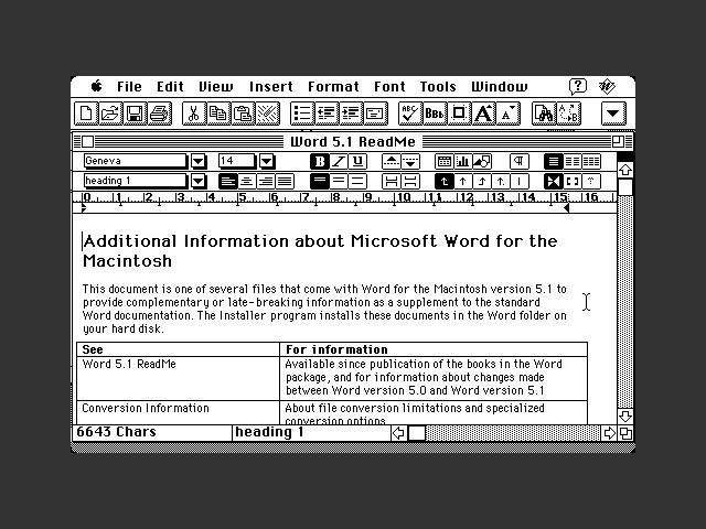 Microsoft Word 5.1a + patch > 5.1A (1992)