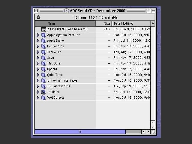 Apple Developer Connection Software Seed CD-ROM (December 2000) (2000)