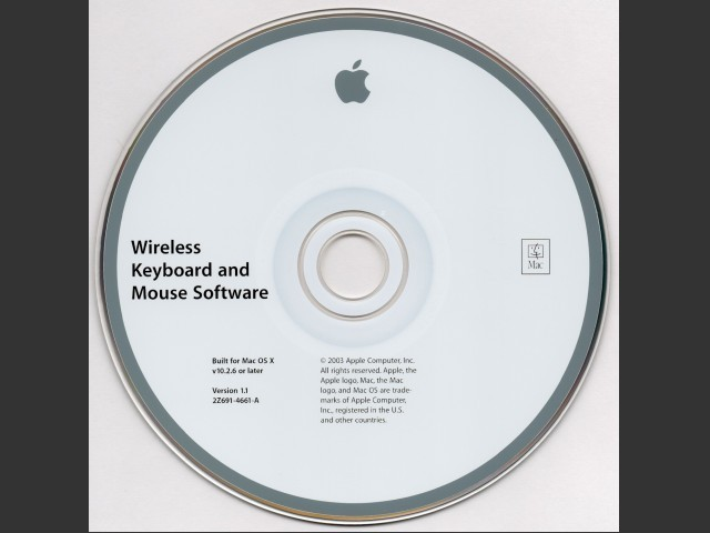 691-4661-A,2Z,Wireless Keyboard & Mouse Software for Mac OS X v10.2.6 or later v1.1 (2003)