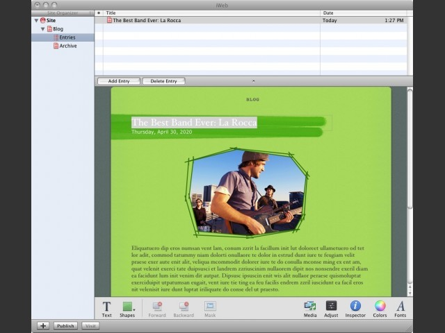 iWeb, the new iLife application