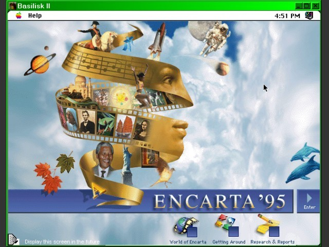 encarta 95 welcome (on basilisk ii)