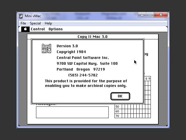 Copy II Mac v3.0 / About window