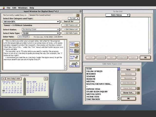 Digital Diary 1.6 (1997)