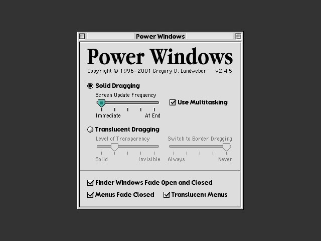 Power Windows Control Panel