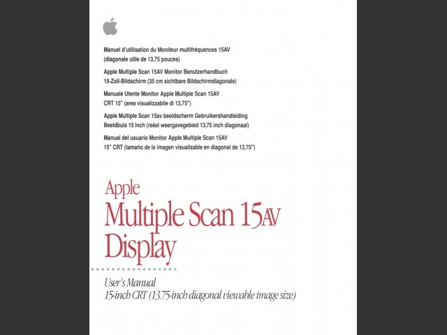 Apple Multiple Scan 15AV Display Manual (1996)