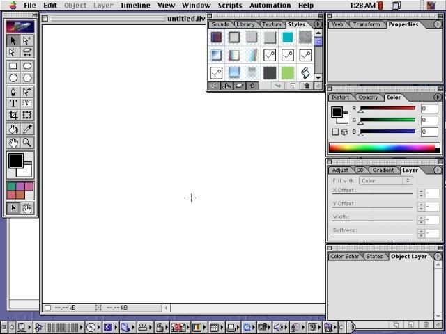 Adobe LiveMotion 2.0 working area