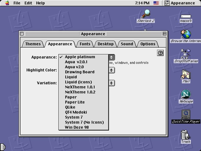 Screenshot of the Appearance Manager, showing the themes included in this package.