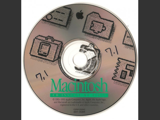 691-0088-A,,Macintosh CD Install Me First. SSW v7.1 (CD) (1992)