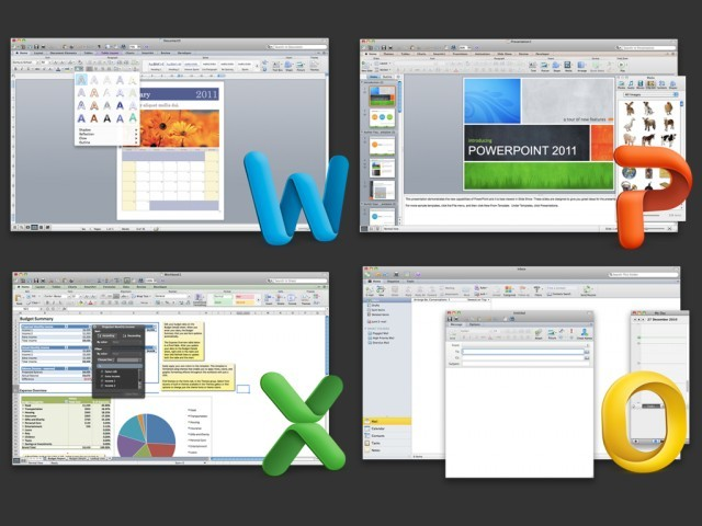 Screenshots of Word, PowerPoint, Excel, and Outlook.
