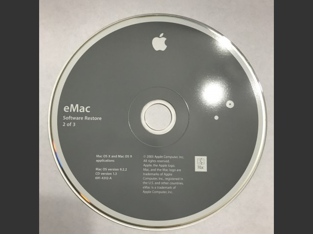 What Is EMac Software Restore 3 CD Set Mac OS X 9 Applications SSW 922 Disc V10