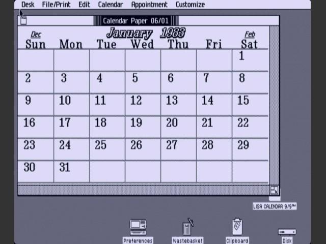 Lisa Desktop Calendar (1985)