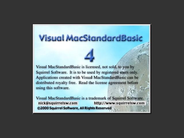 Visual Mac Standard Basic 4.1 splash screen