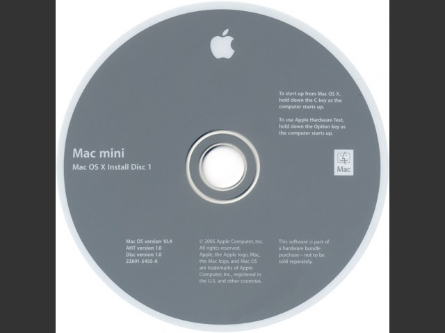 Mac OS X 10.4.0 (2005 Mac mini G4/1.25 & 1.42) (2005)