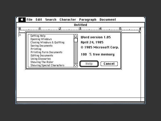 Microsoft Word 1.05 (1985)