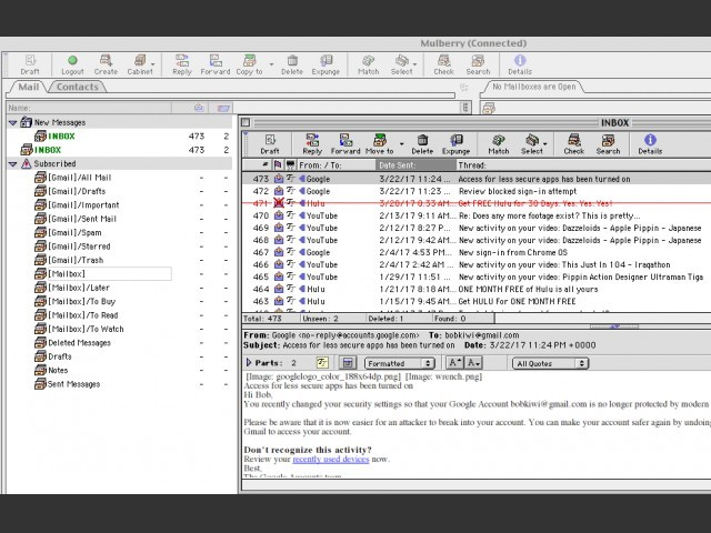 Gmail in Mac OS 9 in 2017!