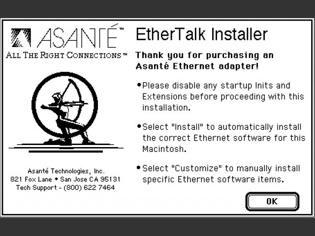 Asanté Ethernet Installer 5.1.2 (1993)