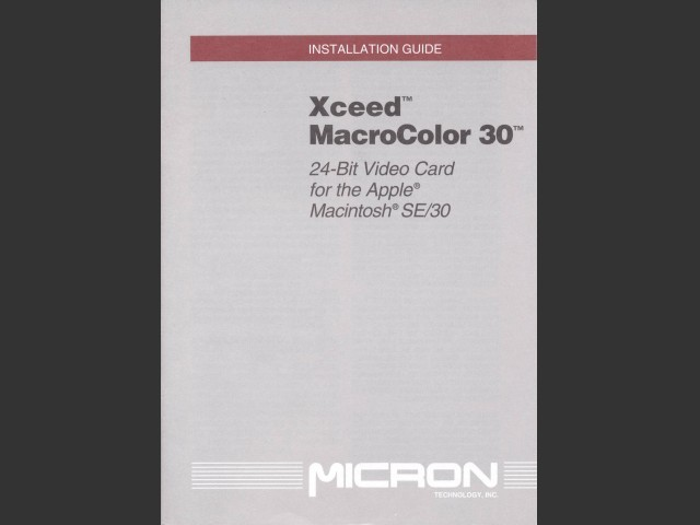 Micron Xceed MacroColor 30 INSTALLATION GUIDE (1991)