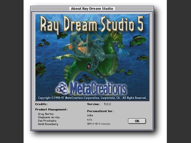 About Ray Dream Studio 5 splash screen