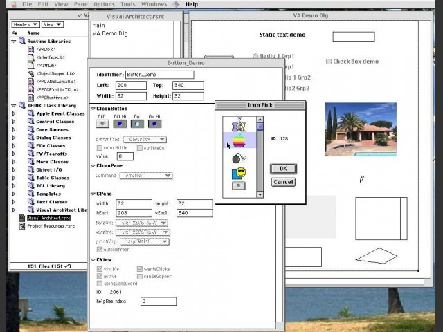 Pane Info Dialog of a CIconButton. Every GUI element (called Pane in VA) has an info window.