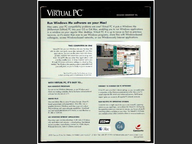 Connectix Virtual PC 4.0 with Windows ME (2000)