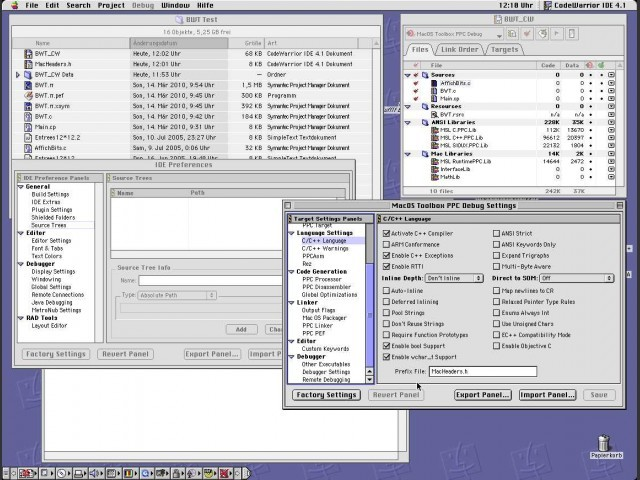 Many options can be set for the IDE or the application generation