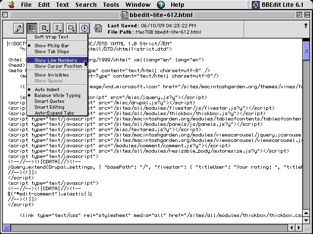 BBEdit Lite 6.1.2 (2001)