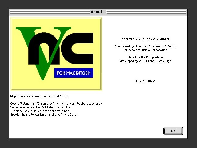 ChromiVNC Server 3.4a5 for System 7.5.5 (2001)