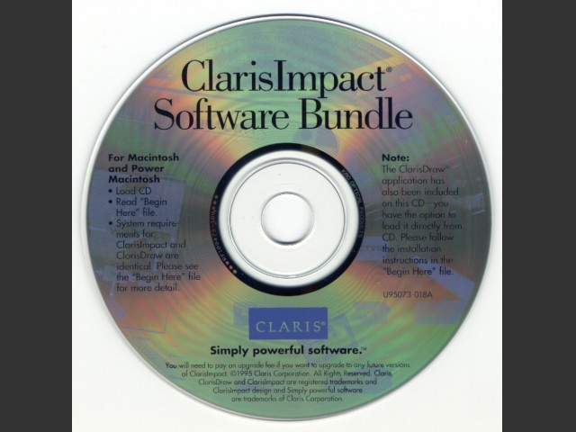 ClarisImpact Software Bundle (1995)